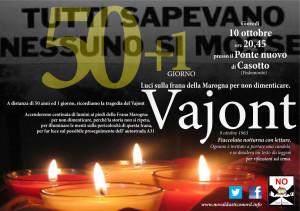 Vajont. 50+1giorno, Luci sulla frana della Marogna per non dimenticare – Giovedì sera 10 ottobre a Casotto di Pedemonte