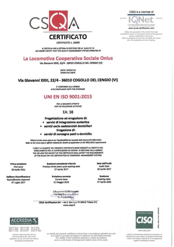 Certificato Qualita Locomotiva 2019 CSQA